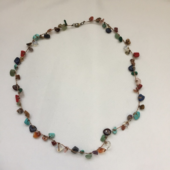 Handmade Hand Knotted Necklace Colourful Stones